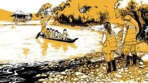 Niños en una pequeña barca dirigiéndose a estudiar.