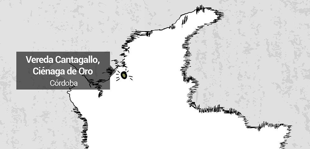 Vereda Canta Gallo, Córdoba. Lugar donde se produjo el conflicto.